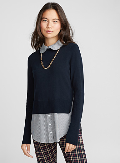 Le pull chemise col Claudine