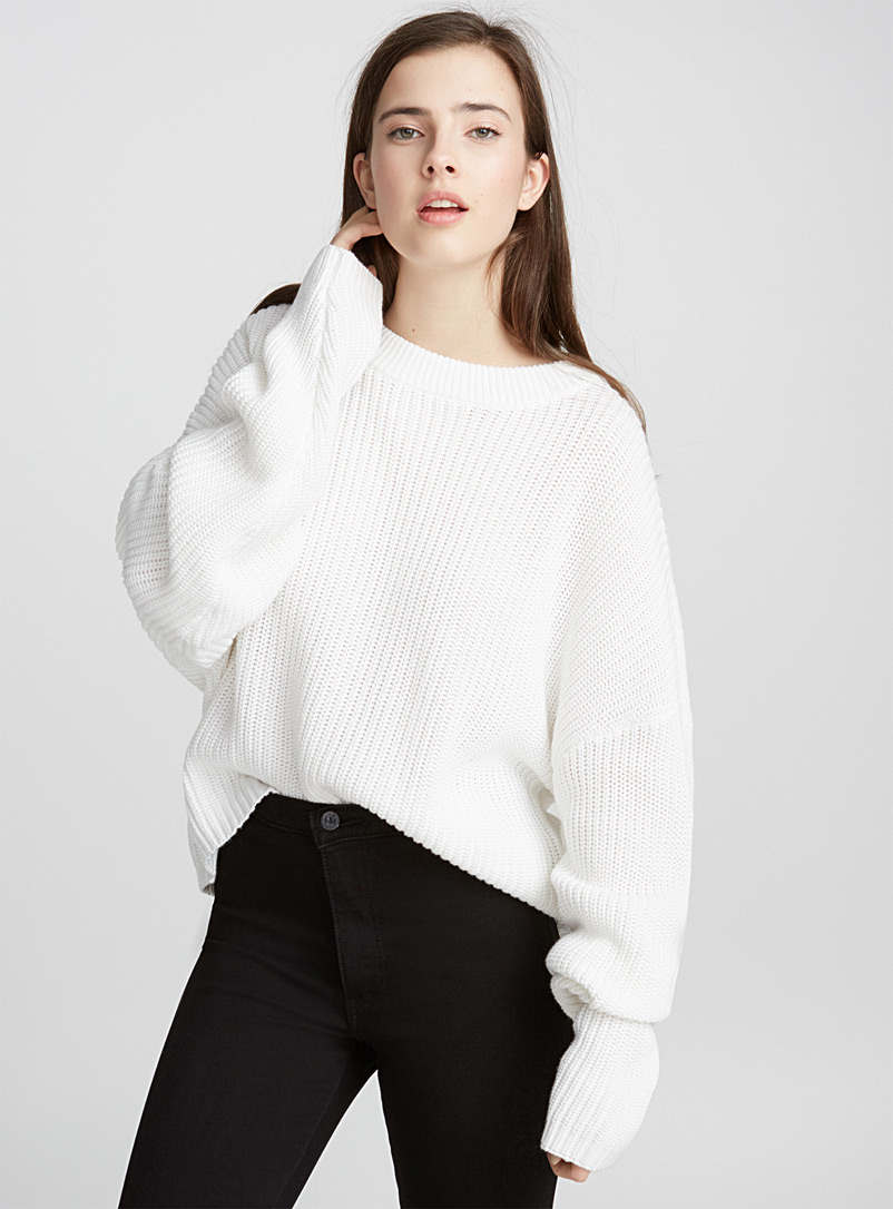 Ribbed balloon-sleeve sweater - Sweaters - White