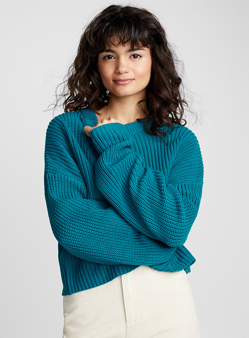 Ribbed balloon-sleeve sweater - Sweaters - Blue