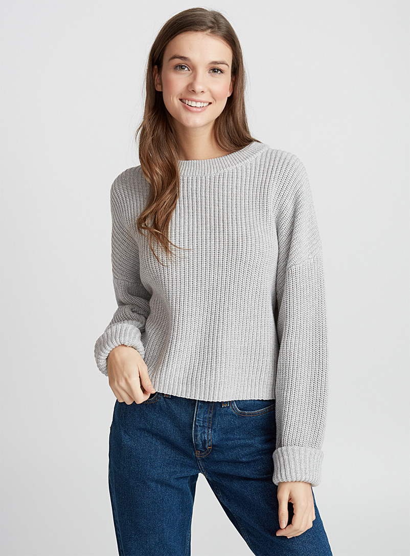 Ribbed balloon-sleeve sweater - Sweaters - Light Grey