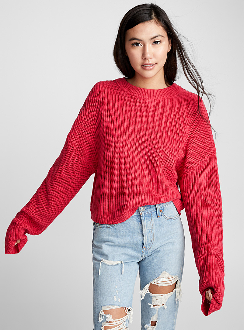Ribbed balloon-sleeve sweater - Sweaters - Red