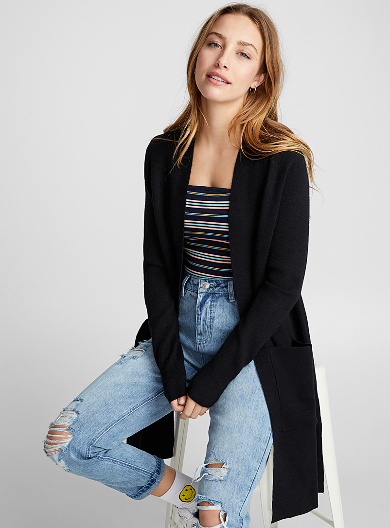 Le long cardigan poches accent - Cardigans - Noir