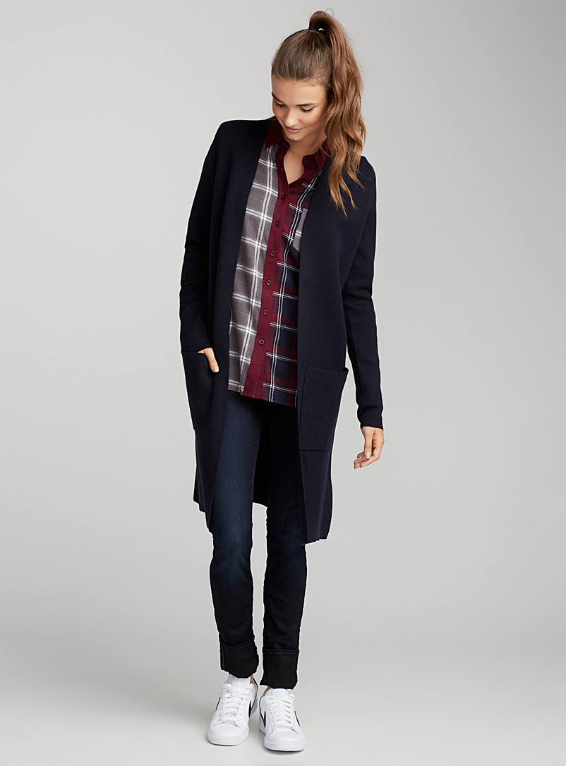 Accent-pocket long cardigan - Cardigans - Marine Blue