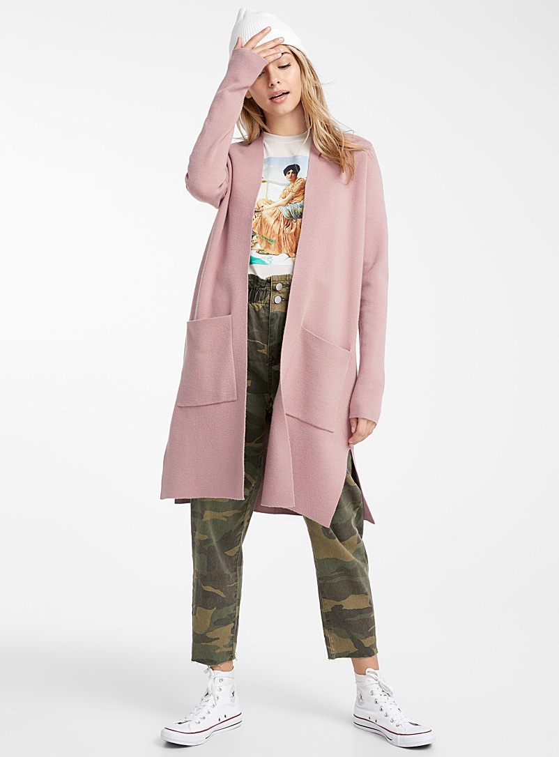 Accent-pocket long cardigan - Cardigans - Dusty pink