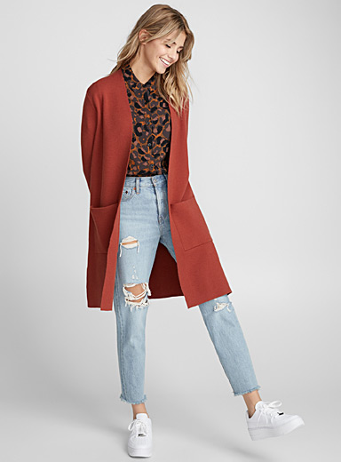 Accent-pocket long cardigan