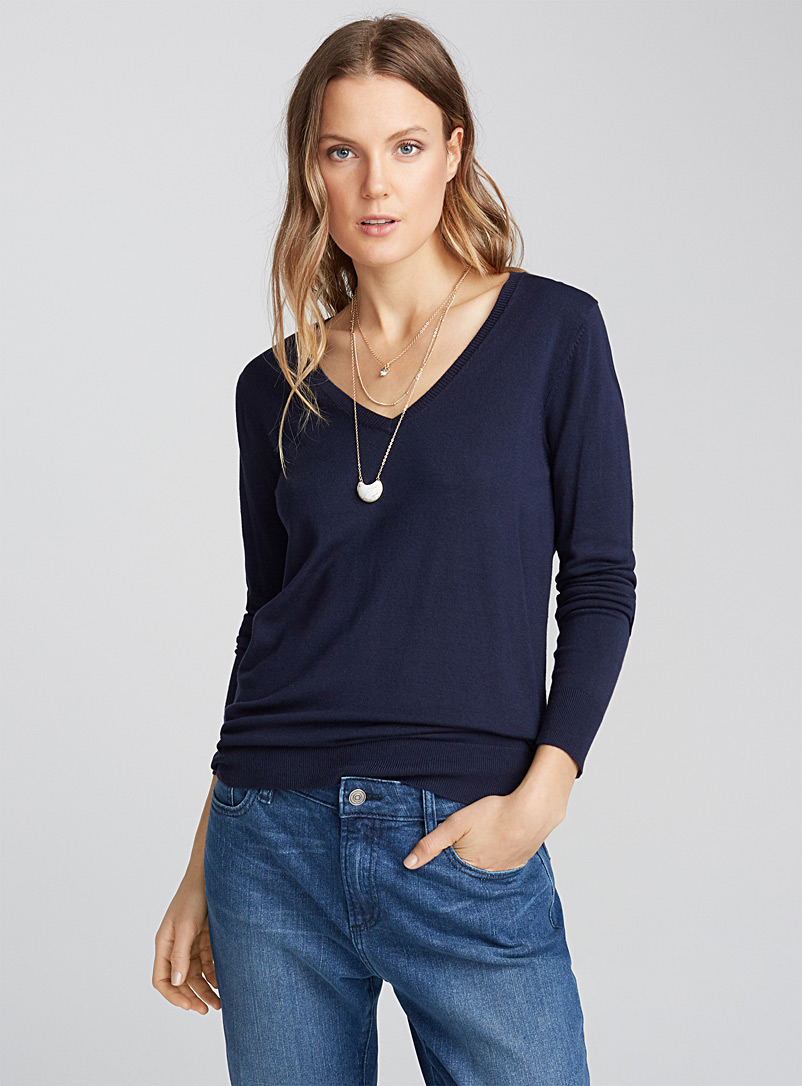 Fine knit V-neck sweater - Sweaters - Marine Blue