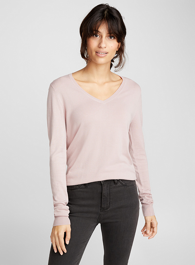 Le pull fin tricot col V - Pulls - Vieux rose