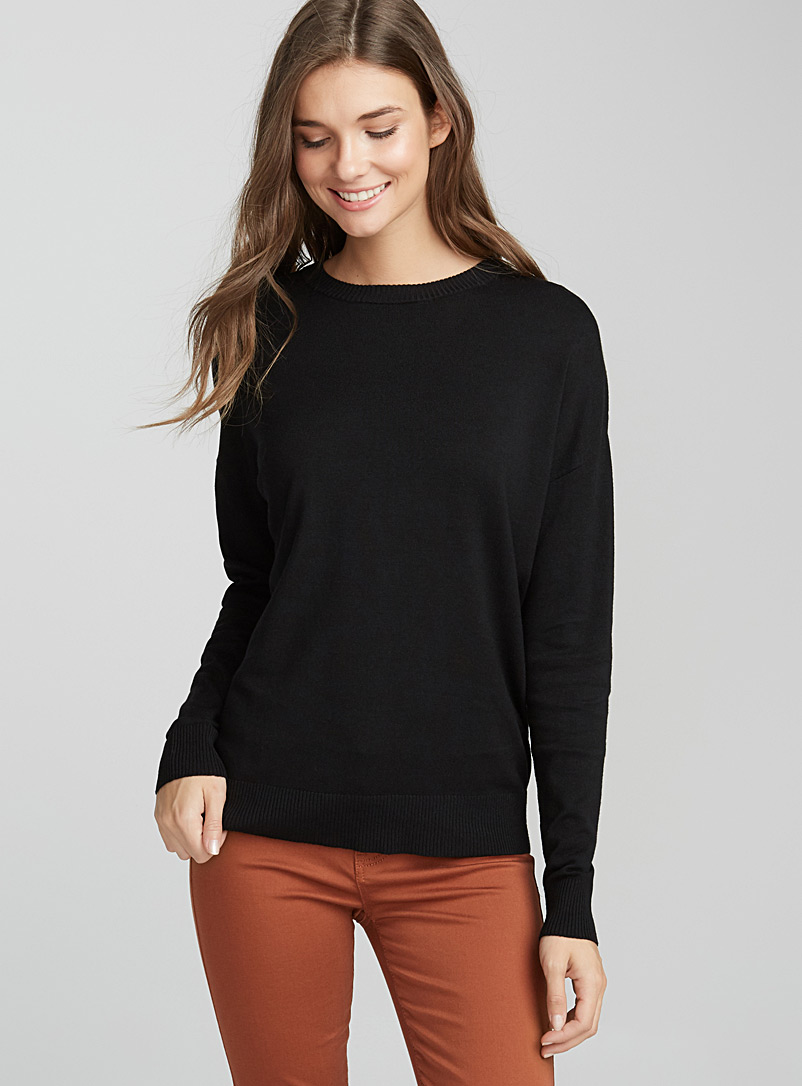 Le pull col rond tricot soyeux - Pulls - Noir