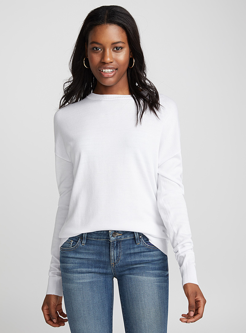 Silky knit crew-neck sweater - Sweaters - White