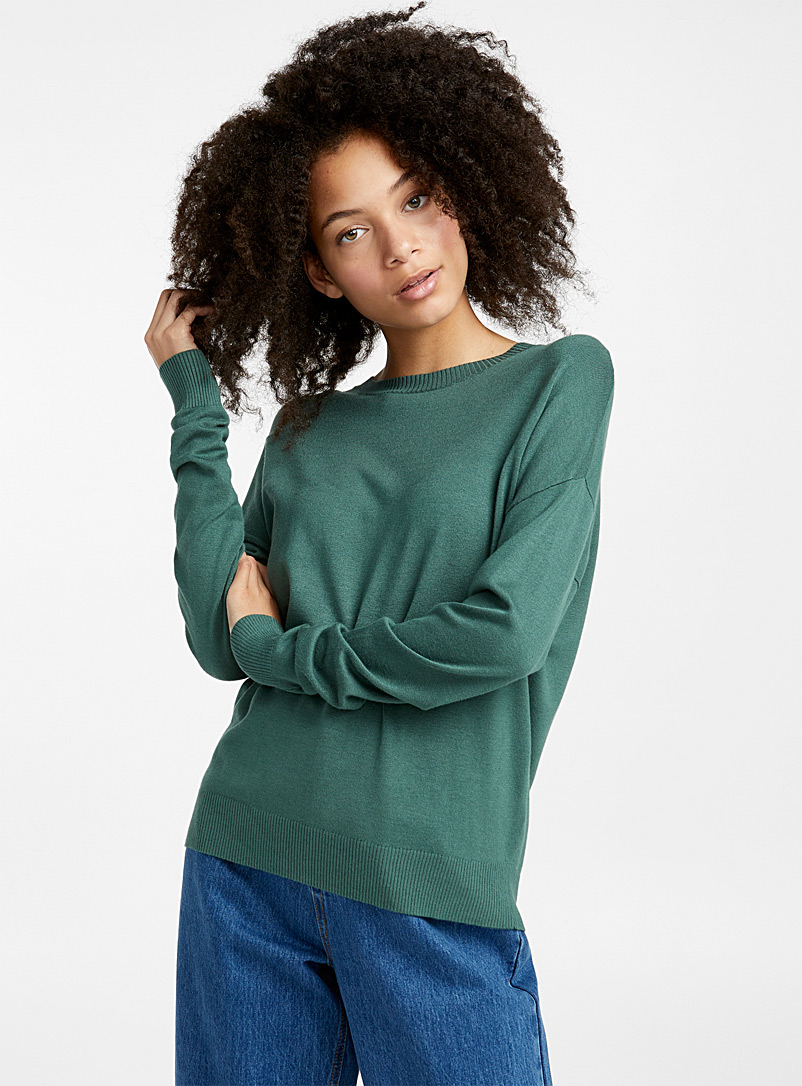 Le pull col rond tricot soyeux - Pulls - Vert