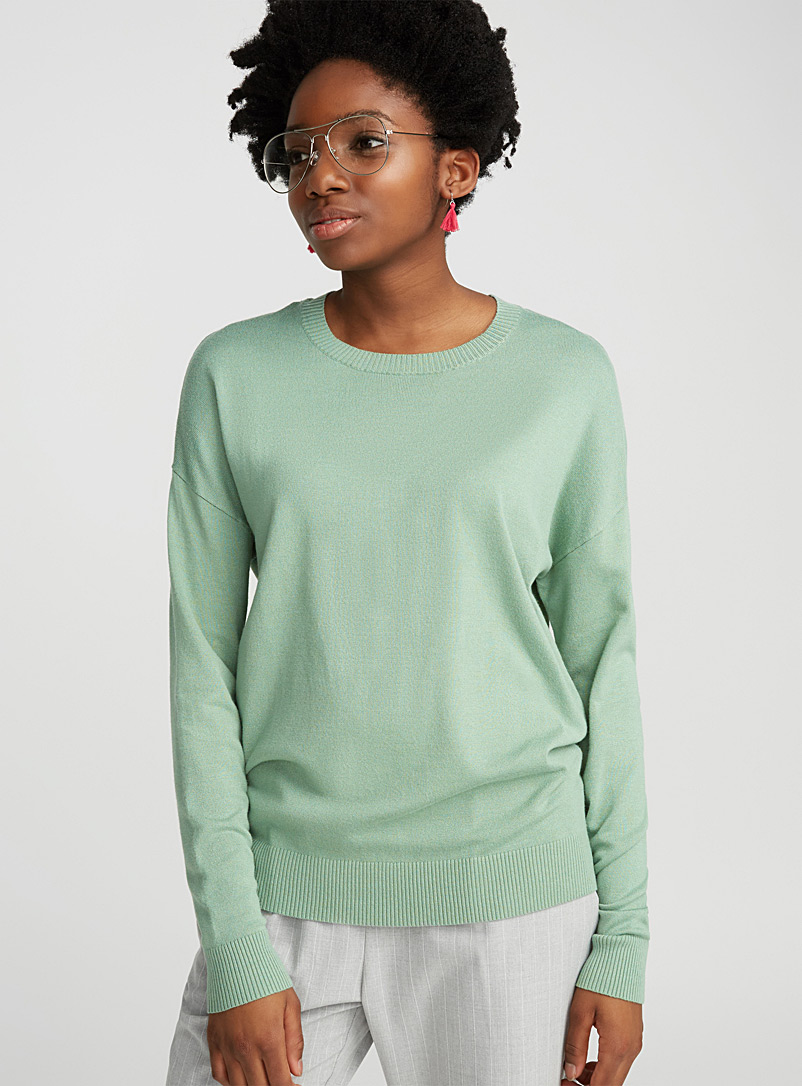 Silky knit crew-neck sweater - Sweaters - Mossy Green