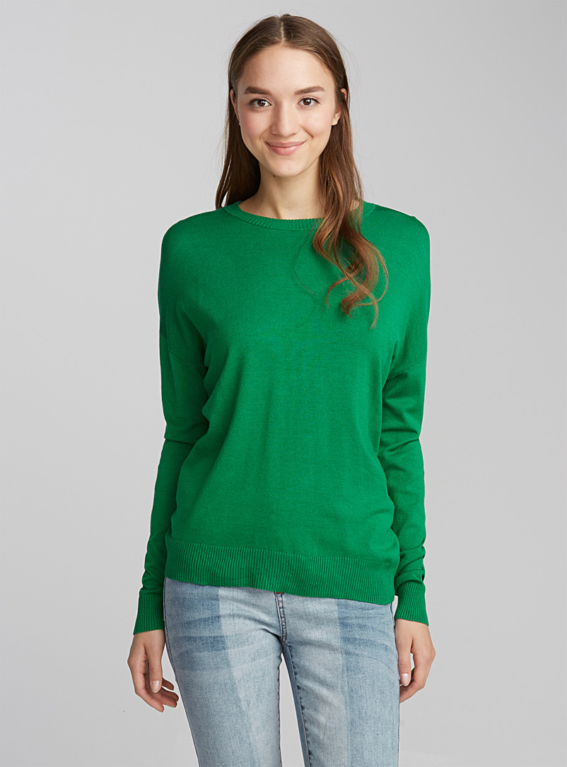Le pull col rond tricot soyeux - Pulls - Vert bouteille
