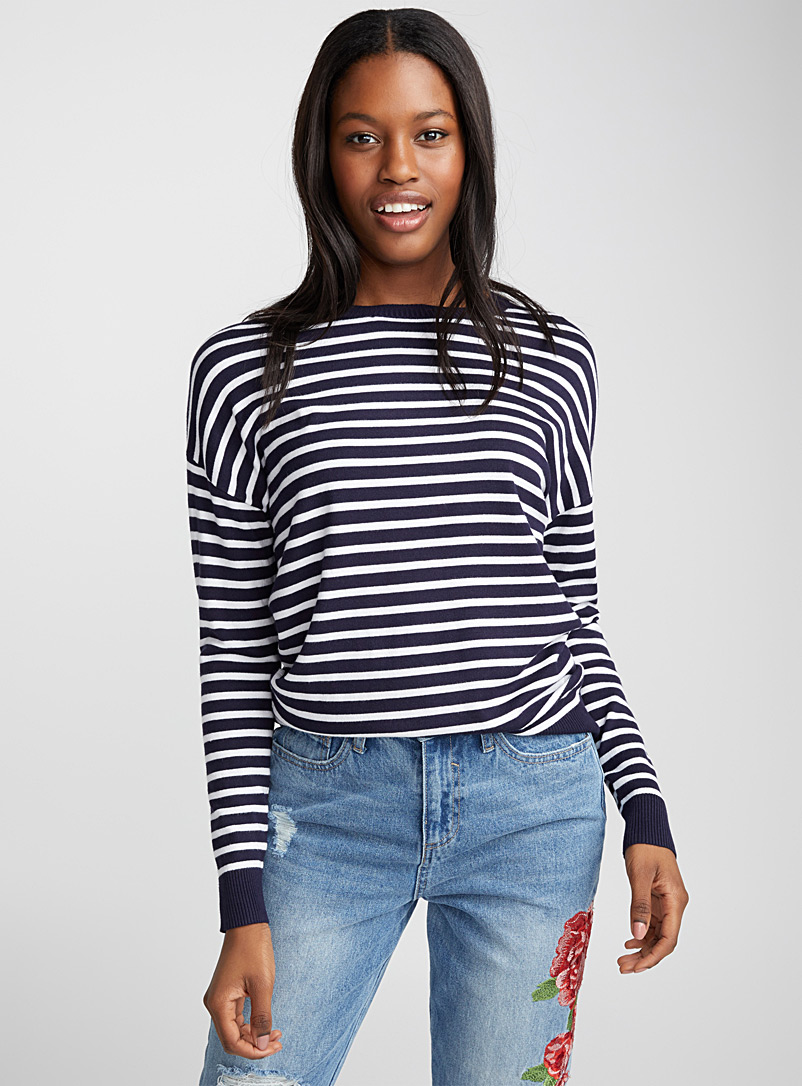 Le pull col rond tricot soyeux - Pulls - Marine