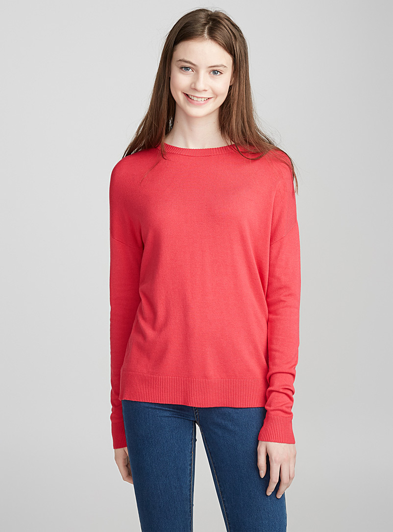 Le pull col rond tricot soyeux - Pulls - Corail