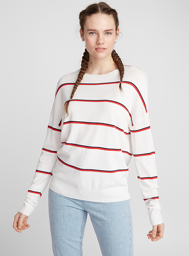 Two-tone thin stripe sweater - Sweaters - White