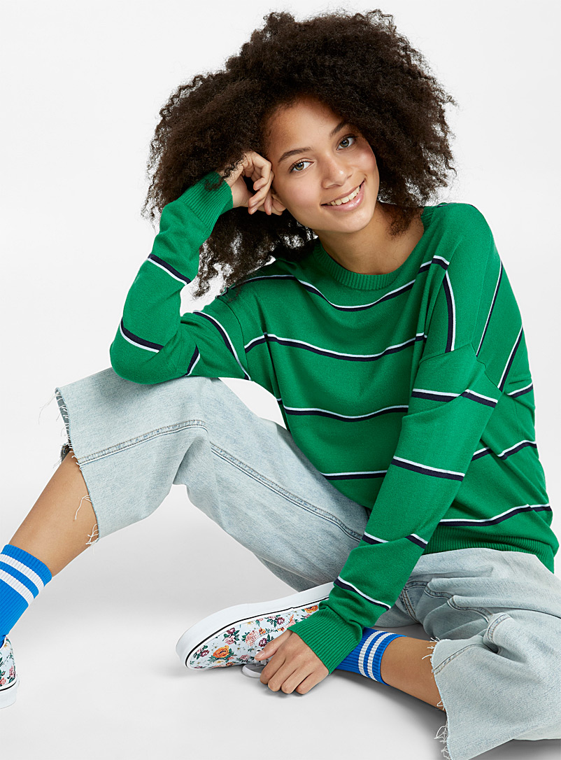 Two-tone thin stripe sweater - Sweaters - Bottle Green