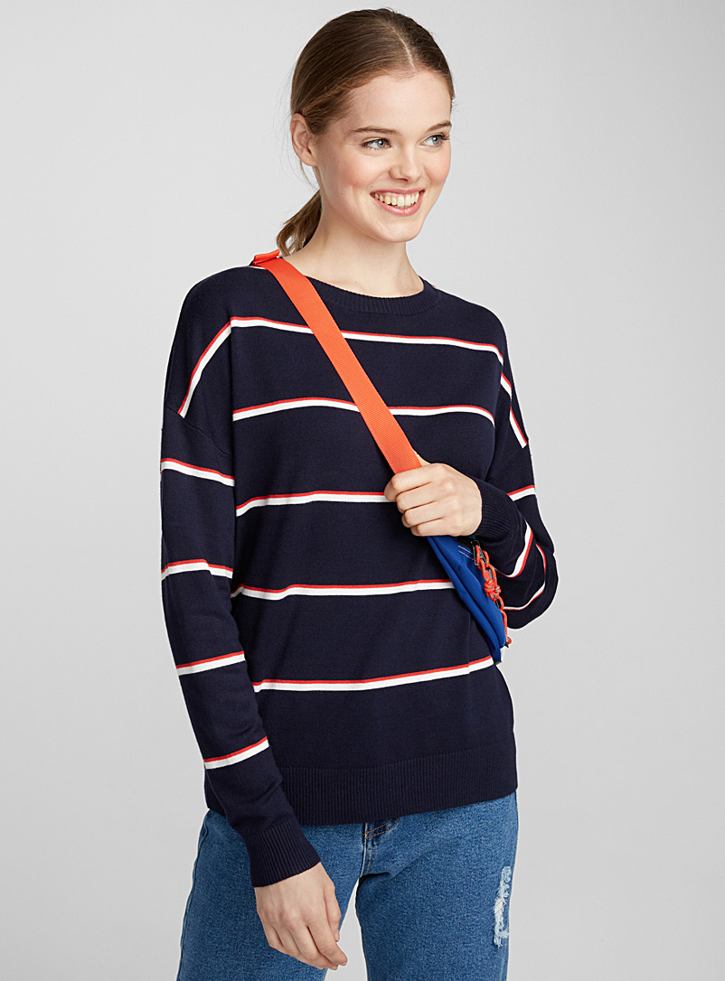 Le pull fines rayures bicolores - Pulls - Marine