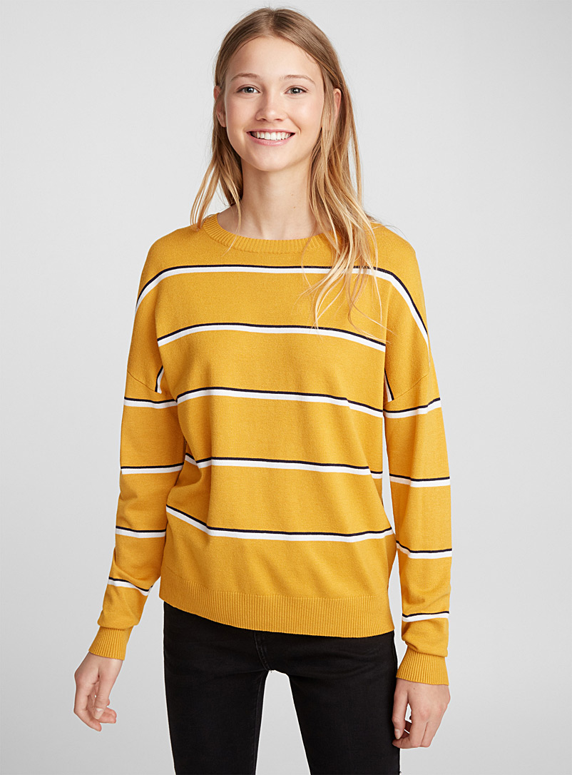 Two-tone thin stripe sweater - Sweaters - Golden Yellow