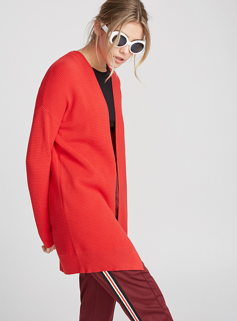 Ottoman viscose cardigan - Cardigans - Red
