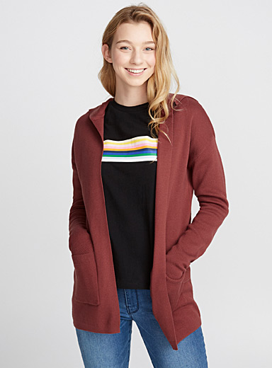 Fine-knit hooded cardigan