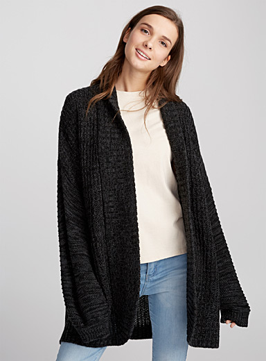 Loose-sleeve ribbed cardigan