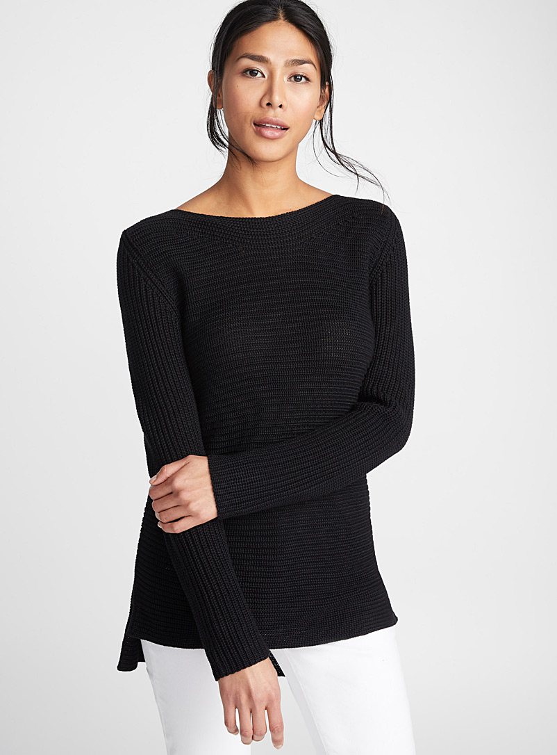 Ribbed boat-neck sweater - Sweaters - Black