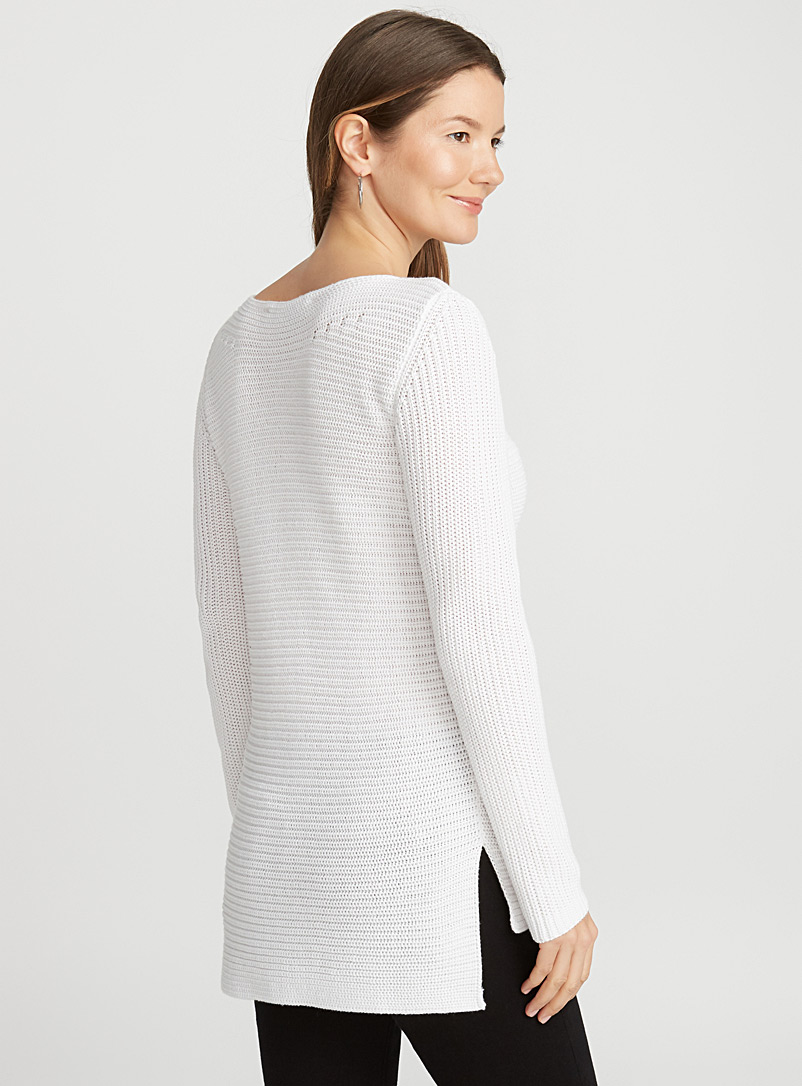 Ribbed boat-neck sweater - Sweaters - White
