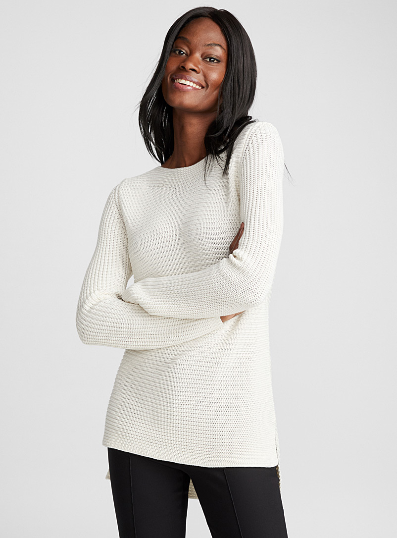 Ribbed boat-neck sweater - Sweaters - Cream Beige