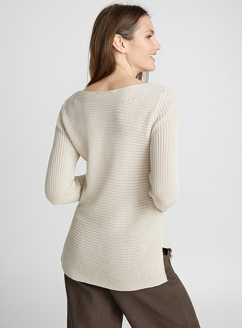 Ribbed boat-neck sweater - Sweaters - Sand