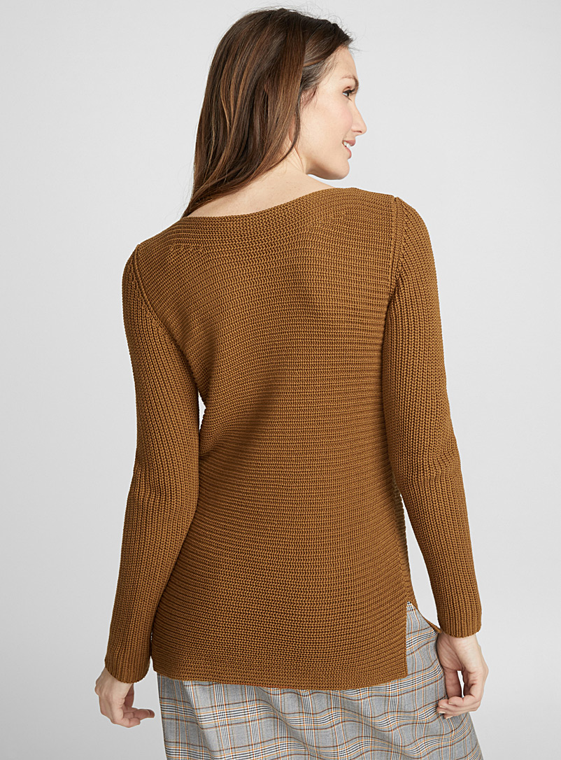 Ribbed boat-neck sweater - Sweaters - Dark Brown