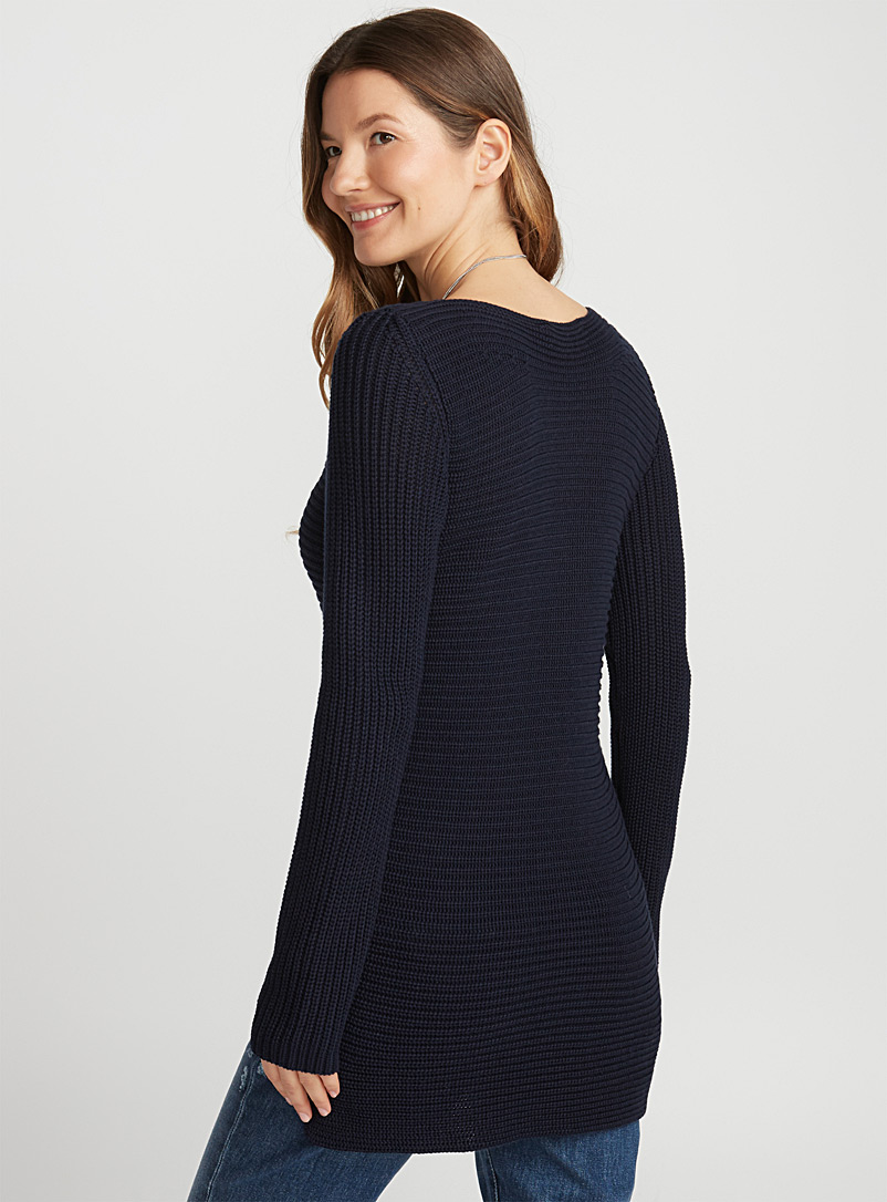 Ribbed boat-neck sweater - Sweaters - Marine Blue