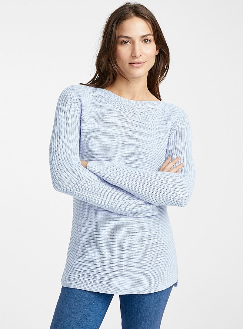 Ribbed boat-neck sweater - Sweaters - Baby Blue