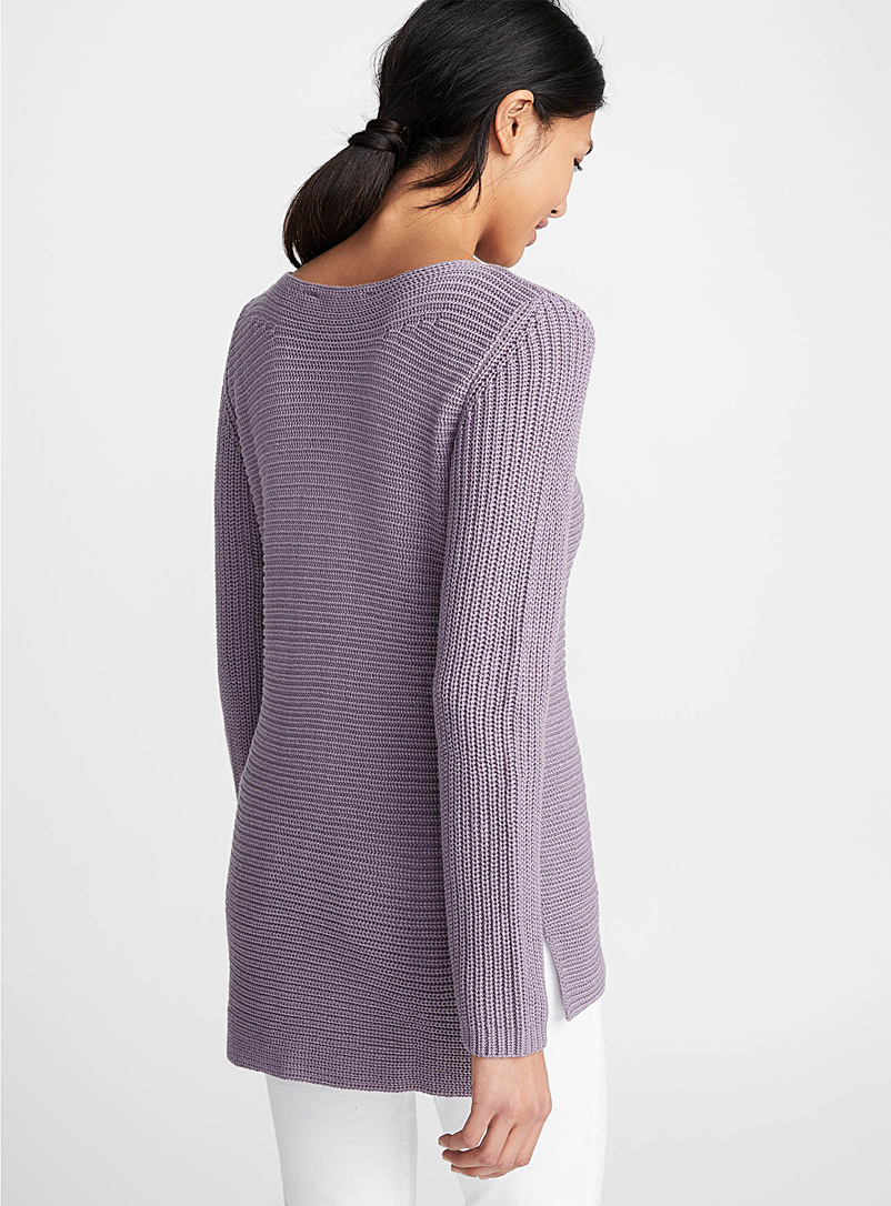 Ribbed boat-neck sweater - Sweaters - Light Crimson