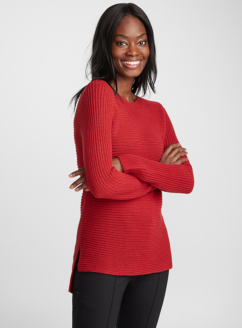 Ribbed boat-neck sweater - Sweaters - Bright Red