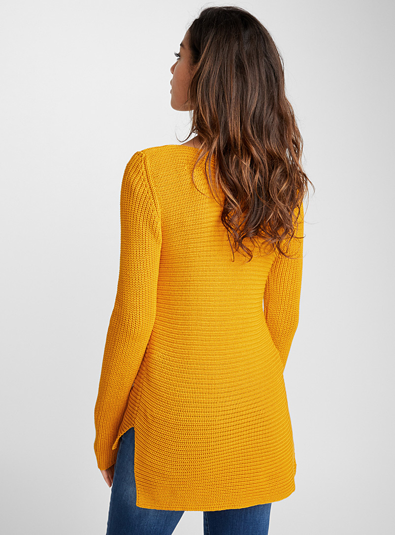 Ribbed boat-neck sweater - Sweaters - Golden Yellow