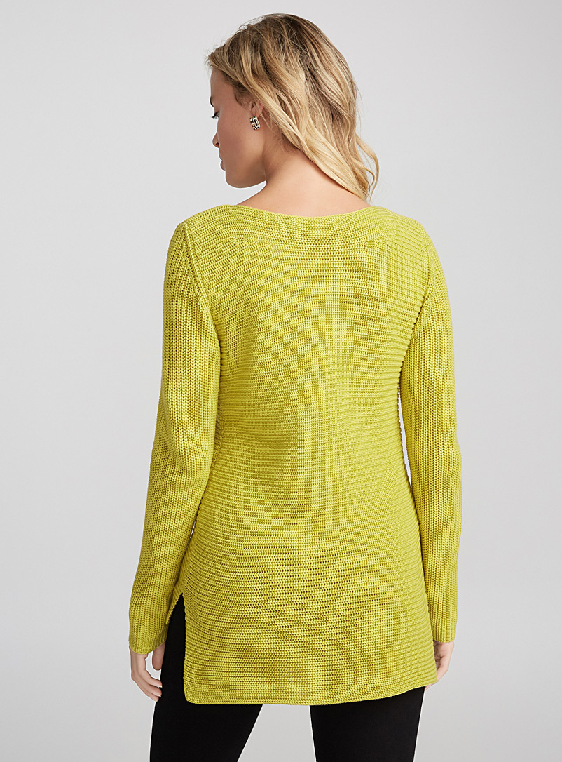 Ribbed boat-neck sweater - Sweaters - Dark Yellow
