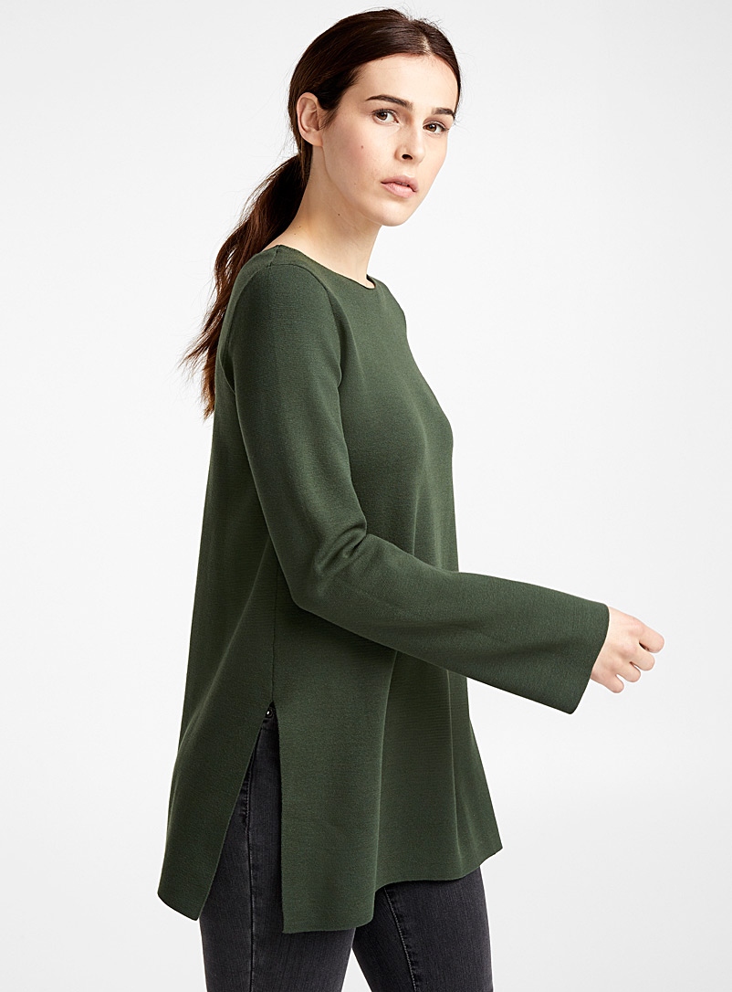 Bell-sleeve tunic - Sweaters - Bottle Green