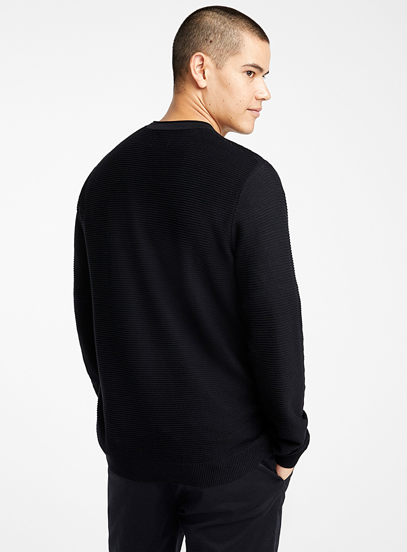 Le 31 Black Organic cotton ottoman sweater for men