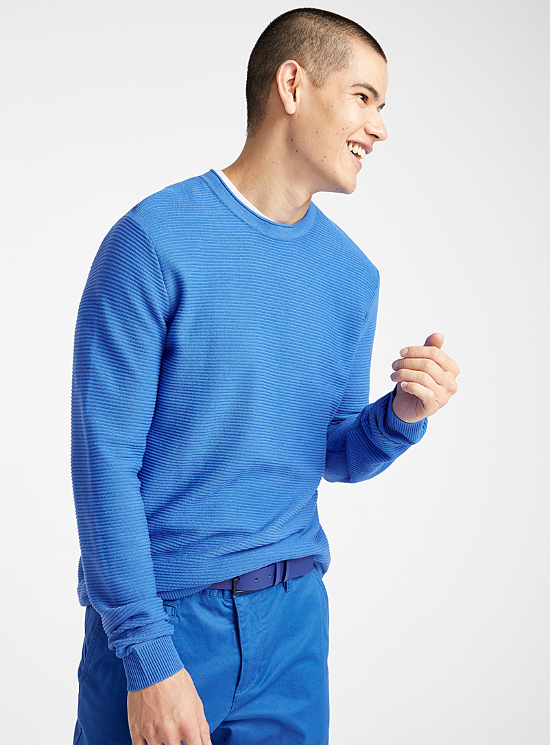 Le 31 Dark Blue Organic cotton ottoman sweater for men