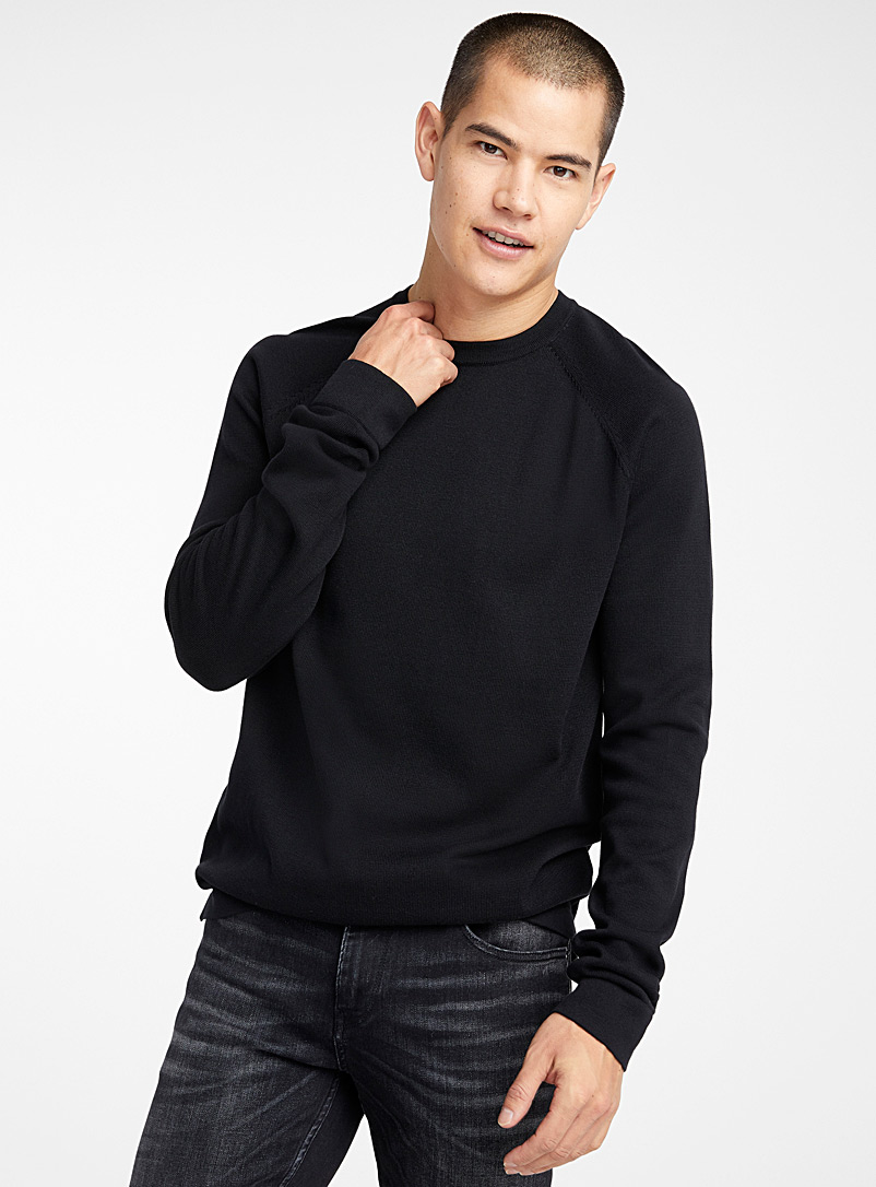 Le 31 Black Organic cotton crew neck sweater for men