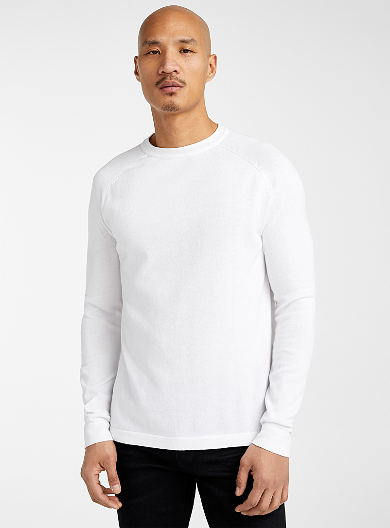 Le 31 Ivory White Organic cotton crew neck sweater for men