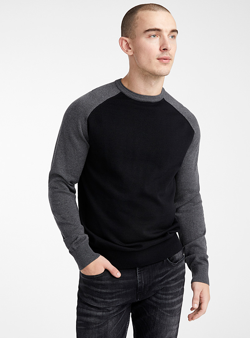 Le 31 Black Two-tone raglan sweater   for men