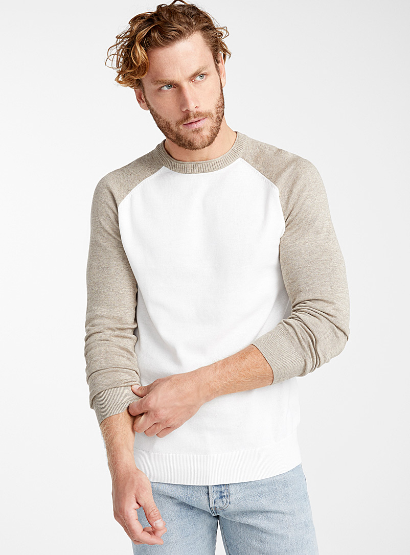 Le 31 Ivory White Two-tone raglan sweater   for men