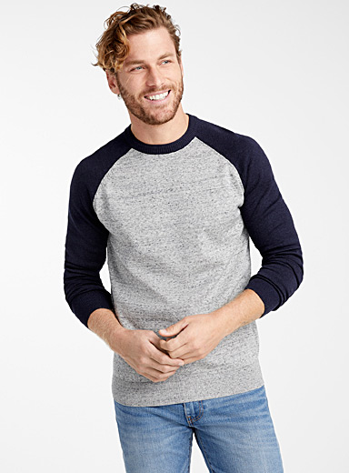 Two-tone raglan sweater