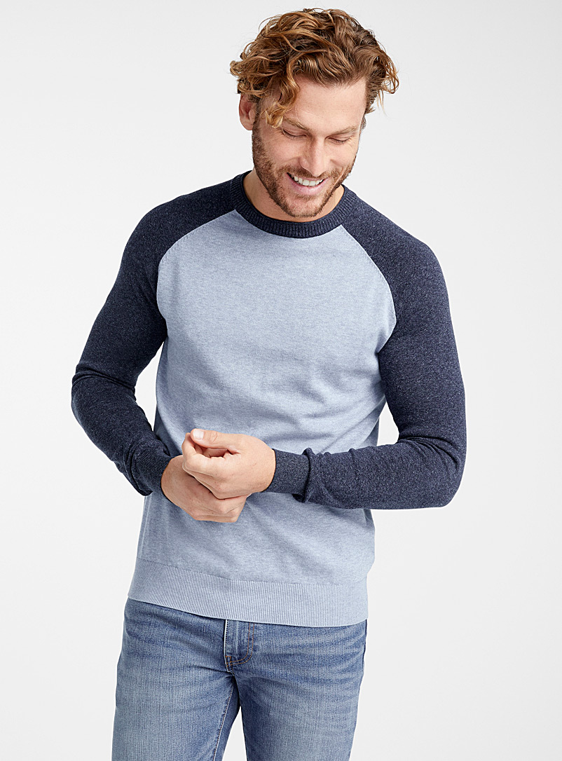 Le 31 Slate Blue Two-tone raglan sweater   for men