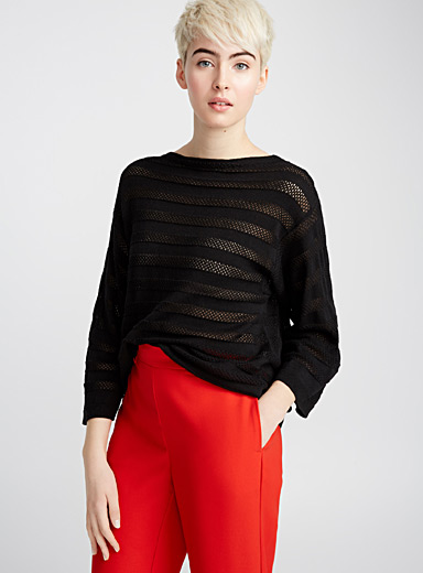 Le pull rayé maille filet