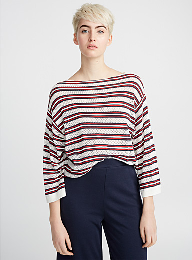 Striped mesh-knit sweater