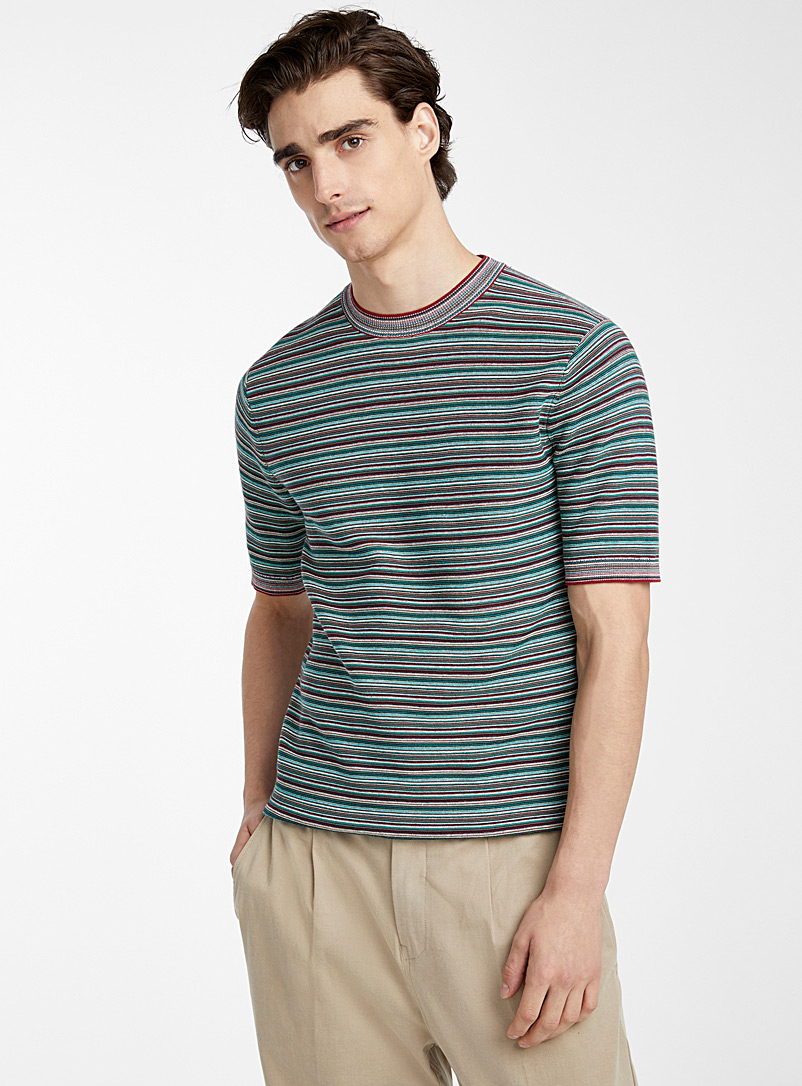 Le 31 Patterned Red Woven-stripe sweater for men