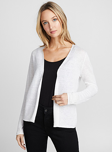 Button-back linen cardigan