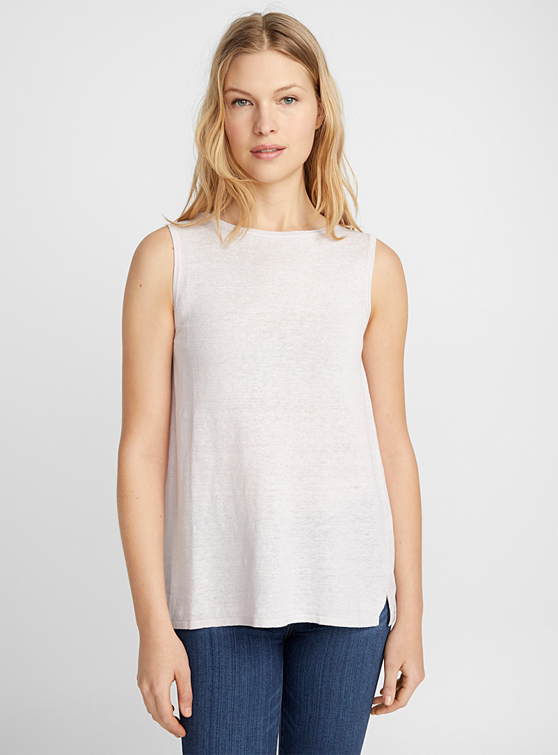 Linen knit crew-neck tank - Sweaters - Pink